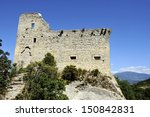 The ruins of the old Castle Comtal in Vaison la Romaine, France.At the background the Mont Ventoux - stock photo