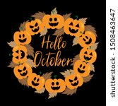 hello october handwritten text  ... | Shutterstock .eps vector #1508463647