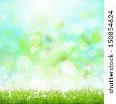 green summer meadow with sun... | Shutterstock . vector #150854624