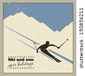 mountain skier slides from the... | Shutterstock .eps vector #150856211