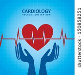cardiology design over blue... | Shutterstock .eps vector #150858251