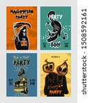 set of colorful halloween party ... | Shutterstock .eps vector #1508592161