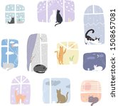 illustration of cats in window... | Shutterstock .eps vector #1508657081