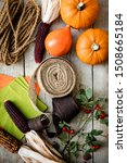Flat Lay  Autumn Fruits  Jute...