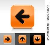 arrow icon set orange glossy...