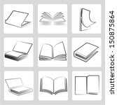 book icons set  sketched book... | Shutterstock .eps vector #150875864