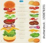 fastfood. hamburger ingredients ... | Shutterstock .eps vector #150878351