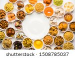 rangoli of sweets and farsan... | Shutterstock . vector #1508785037