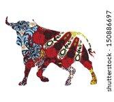 bull in a spanish ornament | Shutterstock .eps vector #150886697