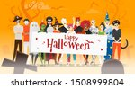 group of teens in halloween...   Shutterstock .eps vector #1508999804