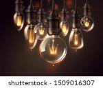 vintage light bulbs on dark... | Shutterstock .eps vector #1509016307