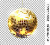 Stock vector golden party ball on transparent background vector retro night club symbol dancing club promotion 1509062237