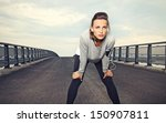 female runner with focus and... | Shutterstock . vector #150907811