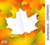 White Paper Leaf On Autumn...