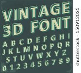 3D Retro type font, vintage typography with grunge background, Vector illustration.
