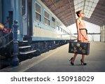 fair traveler with vintage... | Shutterstock . vector #150918029
