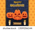 happy halloween banners pumpkin ... | Shutterstock .eps vector #1509206144