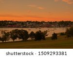 Lunenburg, Nova Scotia Harbor Seen from the Bluenose Golf Course at Sunset 4816