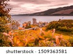 Urquhart Castle on Loch Ness in the Highlands of Scotland close to the Drumnadrochit village and Inverness.