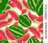 watermelon berry endless pattern | Shutterstock .eps vector #150937121