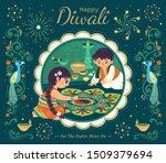 lovely diwali illustration with ... | Shutterstock .eps vector #1509379694
