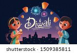 diwali children holding oil... | Shutterstock .eps vector #1509385811