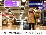 Woman Traveler Tourist Walking...
