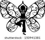yoga girl  butterfly  wings ... | Shutterstock .eps vector #150941381