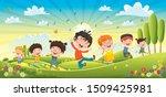 children having fun at spring...   Shutterstock .eps vector #1509425981