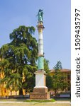 "Column ""Madonna of the Rosary"" at Piazza San Domenico in Bologna, Italy"