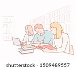 people studying together. hand...   Shutterstock .eps vector #1509489557