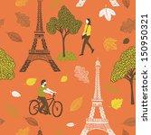 Autumn In Paris Seamless Pattern