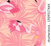 pink cute flamingo and palm... | Shutterstock .eps vector #1509517664