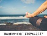 Woman Meditating In Yoga Pose ...