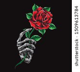 Skeleton Hand Holding Rose...
