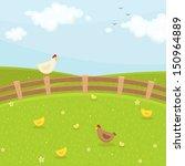 farm chicken family. summer time   Shutterstock .eps vector #150964889
