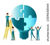 people with lightbulb puzzle ... | Shutterstock .eps vector #1509658544