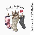 Happy Slogan With Little Kitte...