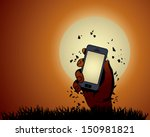 zombie hand holding the phone... | Shutterstock .eps vector #150981821