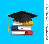 black graduation cap on stack... | Shutterstock .eps vector #1509887411