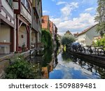 Small photo of Ulm, Germany - July 20, 2019: Fisherman's Quarter - Greenhorn Germany. Here is characterized by many old half-timbered houses surrounded by the river Blau like a little Venice in Ulm City in Germany.