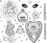 witchcraft set of vector... | Shutterstock .eps vector #1509893414