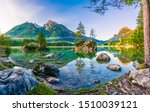 Hintersee lake panorama at sunrise. Colorful morning view of Bavarian Alps on the Austrian border, Germany, Europe. Beauty of nature concept background