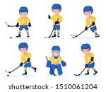 set of boy hockey player... | Shutterstock .eps vector #1510061204