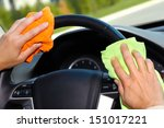 hand with microfiber cloth... | Shutterstock . vector #151017221