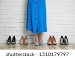 woman trying on different shoes ... | Shutterstock . vector #1510179797