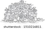 big heap of household rubbish ... | Shutterstock .eps vector #1510216811