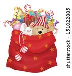 vector santa claus bag with... | Shutterstock .eps vector #151022885