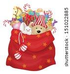 vector santa claus bag with... | Shutterstock .eps vector #151022885