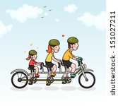 family cycling parents and... | Shutterstock .eps vector #151027211